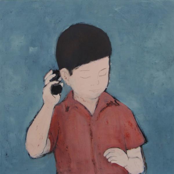 Junge im roten Hemd (2017), Mischtechnik auf Hartfaser, 80x80 cm