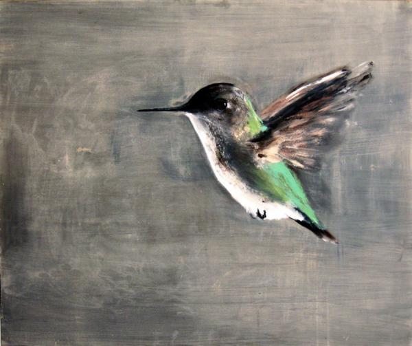 Emerald Flight (2011), Mischtechnik auf Hartfaser, 100x120 cm, Privatsammlung