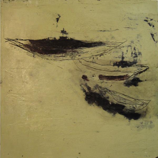 Beige (2008), Mischtechnik auf Hartfaser, 50x50 cm, Privatsammlung