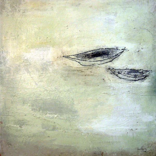 Beisammen (2008), Mischtechnik auf Hartfaser, 50x50 cm, Privatsammlung
