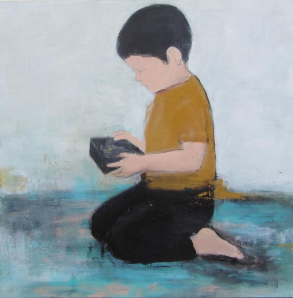 Junge im gelben Hemd (2017), Mischtechnik auf Hartfaser, 80x80 cm, Privatsammlung
