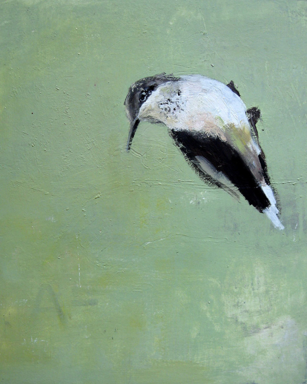 Kolibri (2009), Mischtechnik auf Finnpappe, 60x50 cm