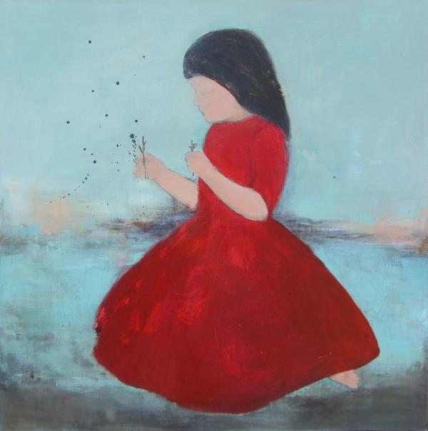 Mädchen im roten Kleid (2017), Mischtechnik auf Hartfaser, 100x100 cm, Privatsammlung