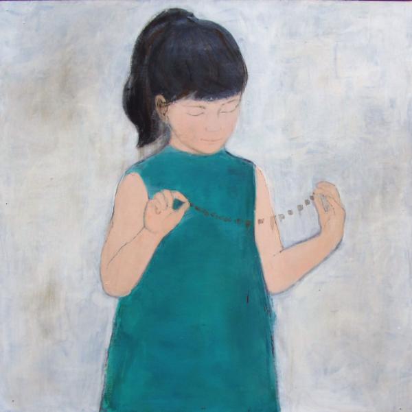 Mädchen in petrol (2017), Mischtechnik auf Hartfaser, 80x80 cm, Privatsammlung