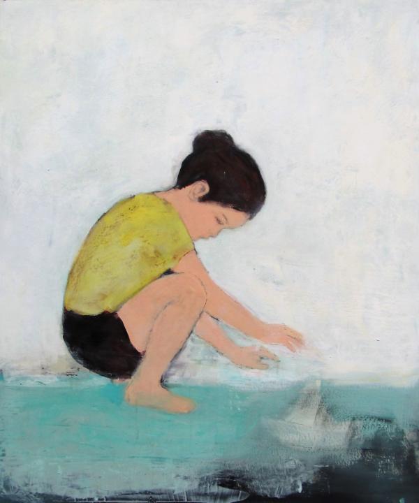 Mädchen in gelber Bluse (2017), Mischtechnik auf Hartfaser, 120x100 cm, Privatsammlung