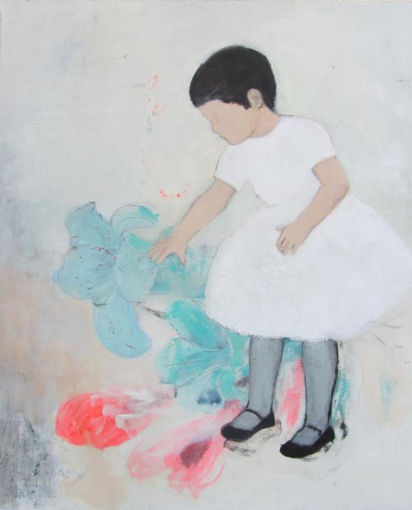 Mädchen mit Blauglocke (2017), Mischtechnik auf Hartfaser, 120x100 cm, Privatsammlung
